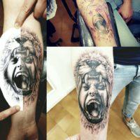 Realistic tattoo leone uomo